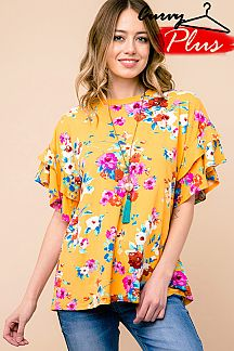 PLUS SIZE FLORAL PRINT DOUBLE LAYERED SLEEVE TOP