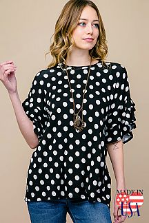 POLKA DOT DOUBLE LAYERED SLEEVE TOP