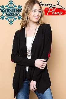 SOLID DRAPED OPEN FRONT CARDIGAN WITH ELBOW PATCH