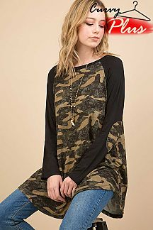CAMOUFLAGE PRINT LOOSE TOP WITH ELBOW PATCH