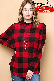 PLAID PRINT HOODED TOP
