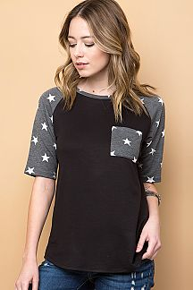 STAR PRINT RAGLAN TOP