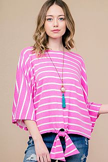 STRIPE VOLUME SLEEVE TOP