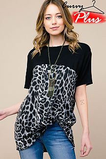 LEOPARD PRINT FRONT KNOT TOP