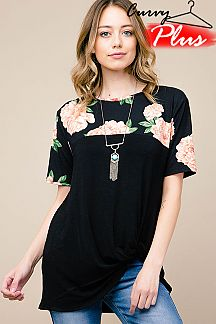 FLORAL PRINT FRONT KNOT DETAIL TOP