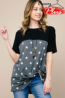 STAR PRINT FRONT KNOT TOP