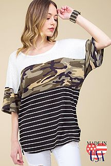 [PRE-ORDER 3/21/19] CAMO & STRIPE COLOR BLOCKED WAFFLE KNIT TOP