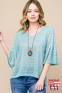 STRIPED V-NECK BELL SLEEVE TOP