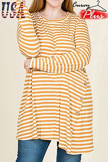 STRIPED PRINT TUNIC TOP