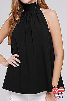 SOLID HIGH NECK SLEEVELESS TOP
