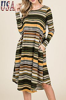 [PREORDER 11/16/18] STRIPED MIDI DRESS