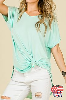 SOLID LOOSE FIT DOLMAN SHORT SLEEVE TOP