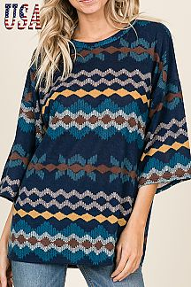 UNIQUE PRINT WIDE SLEEVE TOP