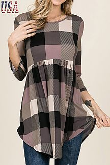 CHECKER PRINT BABY-DOLL TOP