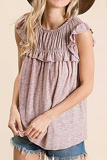 SOLID SLUB RUFFLED SHIRRING DETAIL TOP