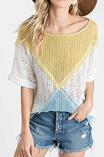 COLOR BLOCKED SHEER KNIT TOP