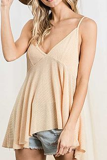 TWO TONED V-NECK ASYMMETRICAL CAMI TOP