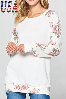 FLORAL PRINT ROUND NECK TOP