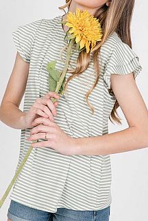 STRIPED RUFFLE LAYERED SLEEVE TOP