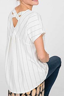 STRIPED CRISSCROSS V-BACK BABYDOLL TOP