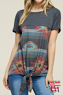 PRINT KNOTTED DETAIL AT FRONT HEM TOP