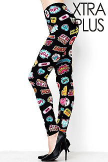 XTRA PLUS SIZE POP UP LABEL PRINT LEGGINGS