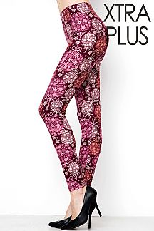 XTRA PLUS SIZE CHRISTMAS ORNAMENTS PRINT LEGGINGS