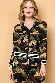 CAMOUFLAGE PRINT ZIP UP HOODED JACKET