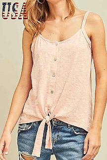 SOLID BUTTON-UP CAMISOLE TOP
