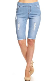 SOLID DISTRESSED BERMUDA JEGGINGS