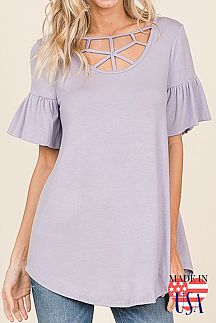 [PREORDER 02/22/19] SOLID RUFFLE SHORT SLEEVE TUNIC TOP
