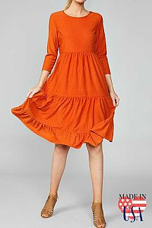 SWISS-DOT 3/4 SLEEVE MIDI DRESS