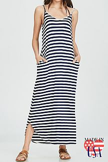 STRIPED STRAPPY SPAGHETTI STRAP MAXI DRESS