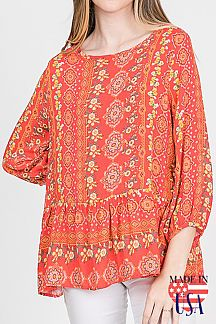 BOHO PRINT 3/4 PUFF SLEEVE TOP