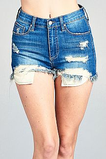 SOLID DENIM HIGH RISE SHORTS