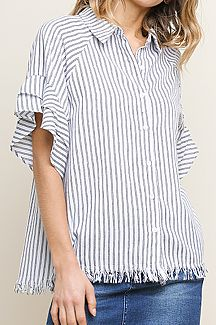 STRIPED LAYERED RUFFLE SHORT SLEEVE BUTTON FRONT COLLARED TOP