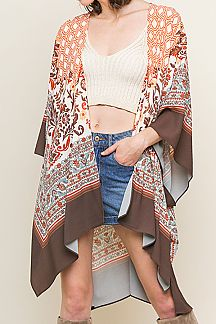 FLORAL SCARF PRINT SHORT SLEEVE OPEN-FRONT KIMONO
