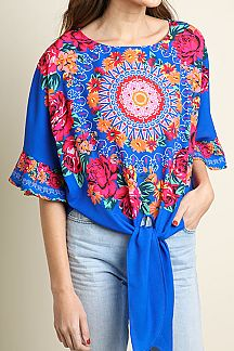 FLORAL MEDALLION PRINT BELL SLEEVE TOP