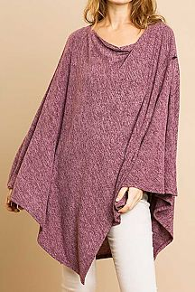 SOLID HEATHERED KNIT PONCHO TUNIC TOP