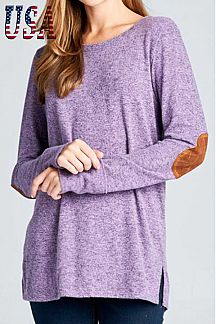 SOLID LONG SLEEVE ROUND-NECK TUNIC TOP