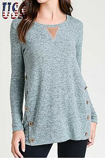 SOLID LONG SLEEVE BRUSHED TUNIC TOP