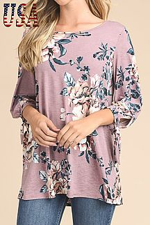 FLORAL PRINT 3/4 SLEEVE TUNIC TOP
