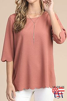SOLID ELBOW SLEEVE ROUND-NECK TOP