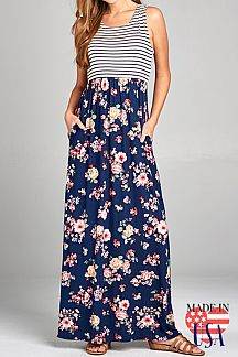 MIXED PRINT SLEEVELESS RACERBACK MAXI DRESS