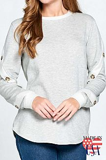 SOLID LONG SLEEVE SWEATSHIRT TOP