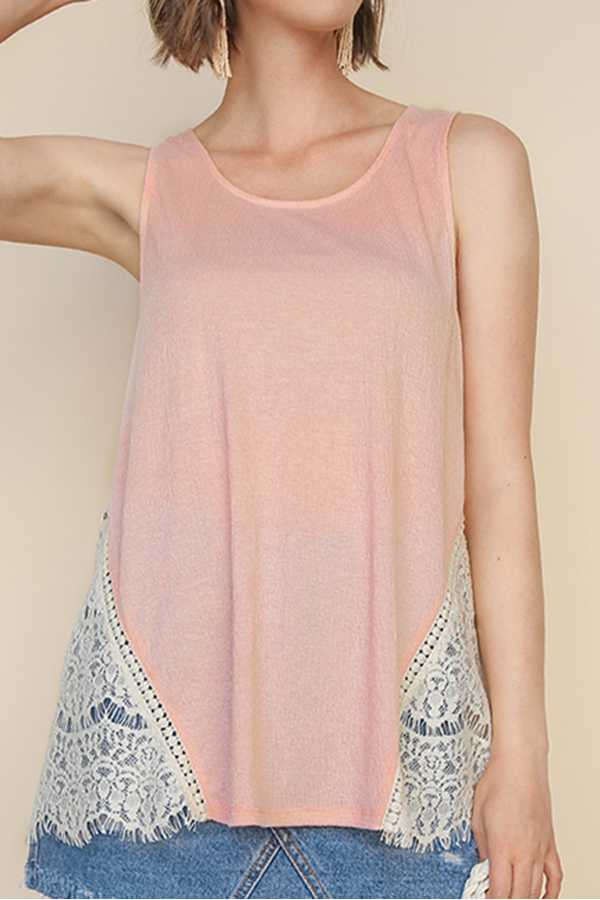 SOLID SLEEVELESS KNIT TOP