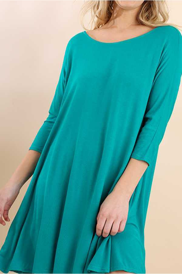 SOLID 3/4 SLEEVE A-LINE DRESS