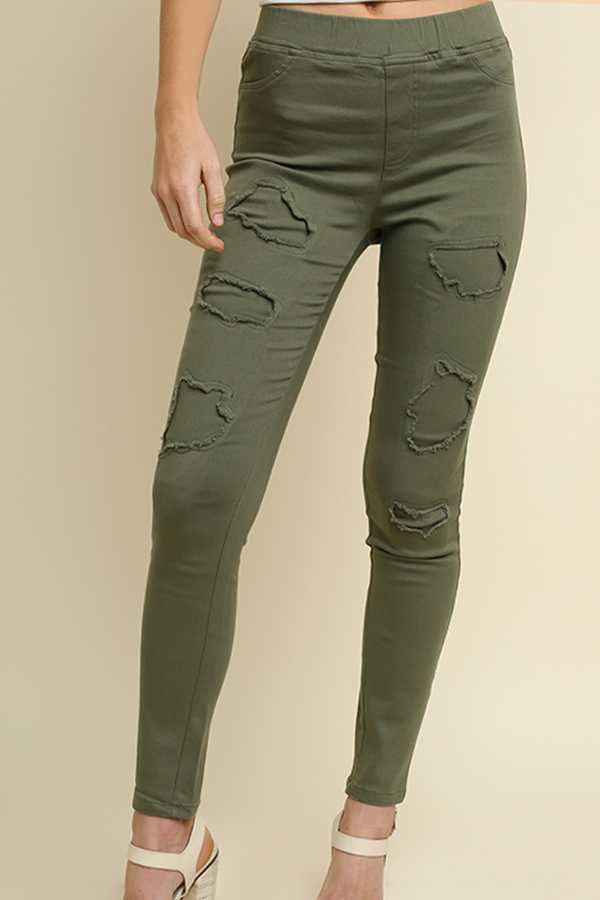 SOLID HIGH-WAIST STRETCH FRONT LEGGINGS