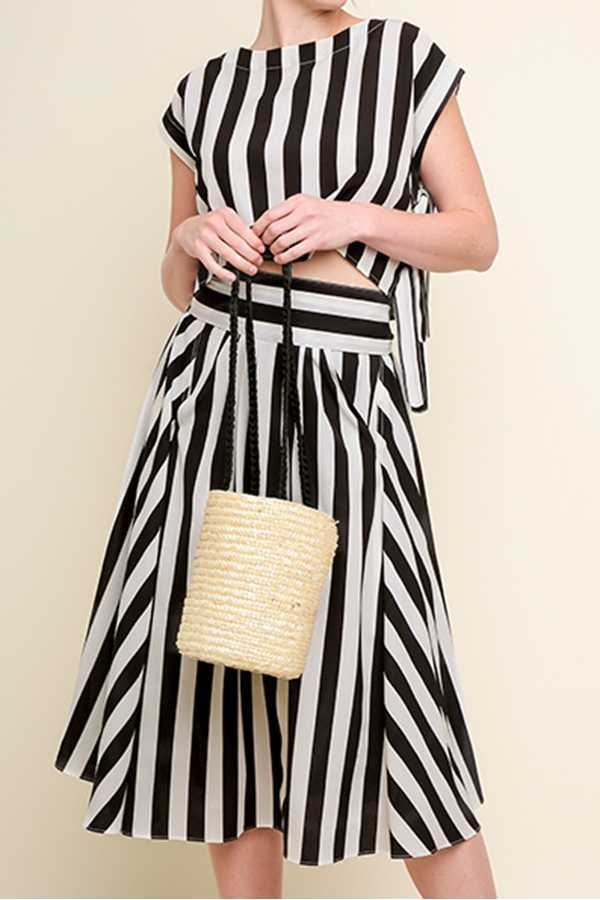 STRIPED SHORT SLEEVE TOP AND MIDI SKIRT SET