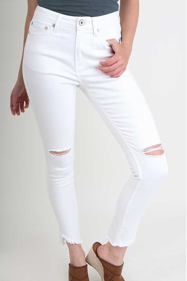 SOLID RIPPED KNEE STRETCH SKINNY JEAN